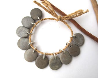 Rock Beads Small Mediterranean Natural Stone River Stone Jewelry Supplies Pairs Small GRAY CHARMS 16-17 mm