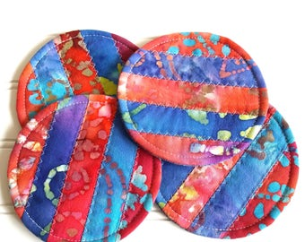 Fabric Coaster Set, Quilted Round Coasters, Bright Batiks
