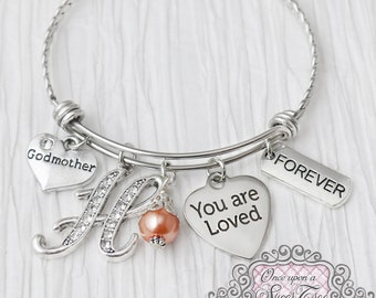 Godmother Bracelet, Expandable Bangle Bracelet, You are Loved Charm, Gifts for Godmother from Godchild, Baptism, First Communion, Religious