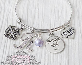 No Matter Where Bracelet, Compass Bracelet, Friendship Bracelet, Friend, Personalized Bangle- Best Friend Jewelry-Long Distance Relationship