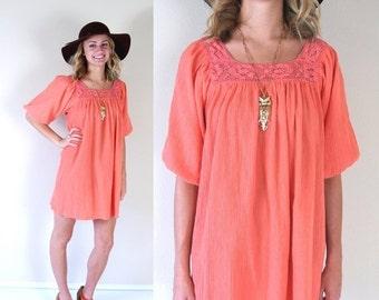 Sale vtg 70s CORAL Crochet Lace MINI DRESS tent Small pink festival hippie sheer sun boho