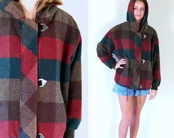 Sale vtg 80s Rust, Brown PLAID oversized HOODED COAT wool Medium/Large outerwear hippie boho retro toggle jacket autumn