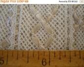 "Ecru Crochet lace Latte Satin ribbon inset 1 5/8"" wide scalloped edges delicate diamond wedding bridal embellishment edging inset lingerie"