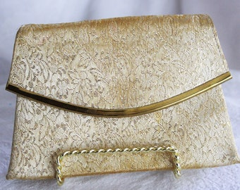 Small gold brocade clutch purse / vintage 1960s Brite Mode bag / shiny evening formal ladies mid century fashion / old Hollywood glam