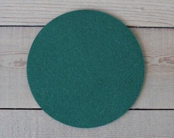 Round Felt Pad / Trivet - 8 inches - 100% Merino Wool  - 5mm Thick - German-milled - Rich, Lightfast Colors - Eco-Friendly - Dark Green