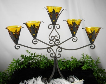 Candelabra Black Wrought Iron 5 Arm Votive Candle Holder - Vintage Fleur De Lis Table Centerpiece Primitive -Rustic - Gothic - Mantel Art