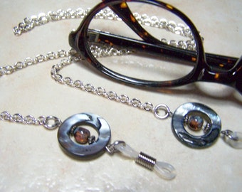 Eyeglass Chain, Mother of Pearl, With Czech Glass Beads, One of a Kind, Eyeglasses Holder, 26 Inches