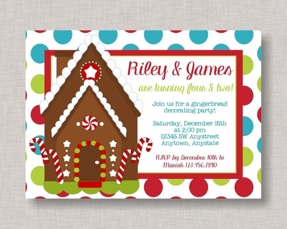 Gingerbread birthday invitation gingerbread house invitation il570xn filmwisefo Images