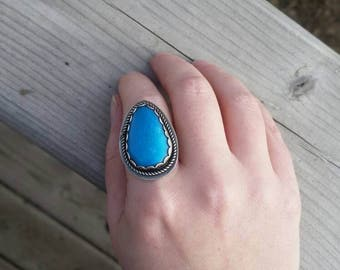REDUCED: Blue Turquoise Statement Ring, Blue Nacozari Turquoise Southwestern Ring, Sterling Silver, Handmade