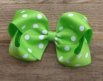 Apple Green Polka Dot Hair Bow~Large Boutique Hair Bow~Simple Hair Bow~Basic Hair Bow~Large Hair Bow~Boutique Hair Bow~Polka Dot Hair Bows