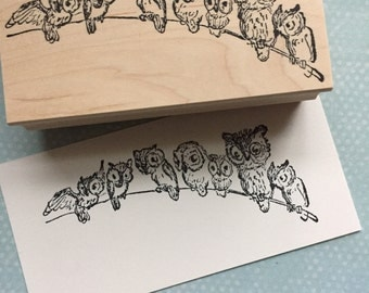 A Parliament of Owls Rubber Stamp