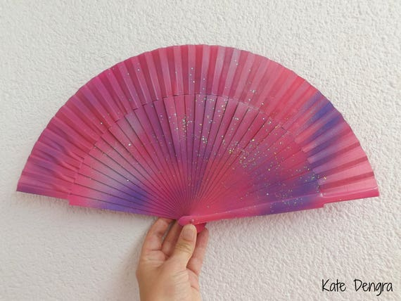 Pink Purple Iridescent Scale Shimmer SIZE OPTIONS Handheld Wood Fabric Wooden Flamenco Fan by Kate Dengra Spain