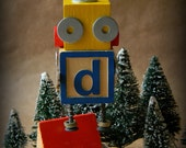 50% OFF - Robot Ornament - d Bot - Upcycled Ornament - Hanging Decor by Jen Hardwick