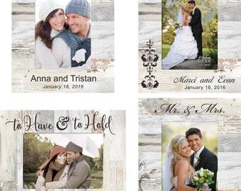 Personalized Wedding Photo Frame - Engraved Wood Wedding Picture Frame - Engagement designed frame - Love Anniversary Frame - Pallet