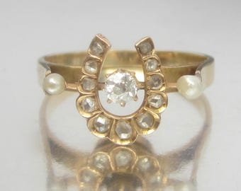 Antique Victorian Diamond Lucky Horseshoe Ring 14K