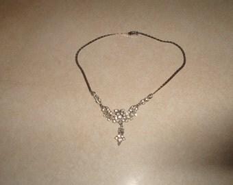 vintage necklace choker silvertone rhinestones dangles