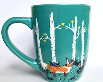 Woodland Coffee Mug - Fox Coffee Mug - Bear mug - Owl mug - Cute Mugs - Hand painted - Tea - Coffee Gifts - Woodland Decor - Birch Trees
