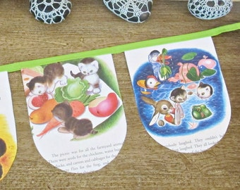 The Shy Little Kitten Bunting. Golden Book Banner Wall Hanging. Cat Animal Children Garland. Bright Green Lime Cute. Domum Vindemia Bookish