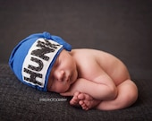 Hunk Hat, hospital hat, knot beanie, newborn hat, first born, newborn photo prop, custom hat, baby shower gift, baby boy hat