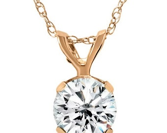 """1/4CT Solitaire Diamond Pendant 14K Rose Gold With 16"""" Chain"""