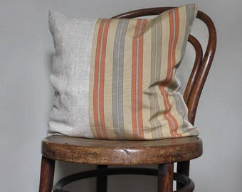 Toffee natural decorative pillow cover/ accent throw cushion for sofa. Natural linen beige orange grey. Recycled vintage kimono obi belt