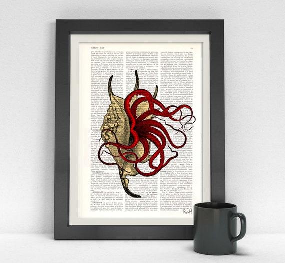Art Print The squid in the Shell print on Vintage dictionary art, wall art print, beach house wall art, wall decor poster print BPSL018