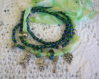 Green Blue Ribbon Boho Wrap Bracelet - French Theme Wrap Bohemian Jewelry - Gypsy Wrap Ankle Bracelet -