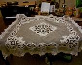 SOLD Beautiful Antique Vintage White Tambour Battenburg Net Lace Square Tablecloth