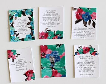6 3x4 Good News Gospel Scripture Memory Cards Set Encouragement Cards DIGITAL Download Bible Verse Notecards Watercolor Floral