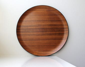 Mid Century Modern Teak Tray Large Round Serving 1960's Japan