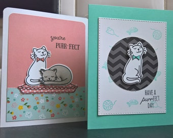 Cat Birthday Card Set of 2, Kitty Cards, Cat Lover Cards, Cat Thank You Cards, Cat Stationery, Cat Lover Gift