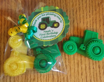 10 TRACTOR Soap Favors {With Tags / Ribbons} - Barnyard Birthday, Farm Birthday, Tractor Party, Down On The Farm Party, Farm Baby Shower