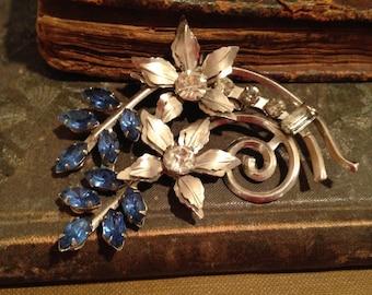 Vintage Blue Rhinestone Flower Pin Pendant