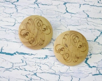 2 Resin Buttons - Looks Like Wood Buttons With Engraved Design