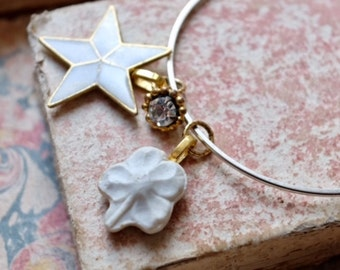 Star: Handmade enamel star charm, four leaf clover porcelain, crystal vintage button gold bracelet, vintage assembly style