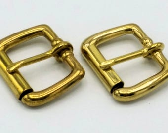 2 Solid Brass Heel Buckles with Roller-1 inch