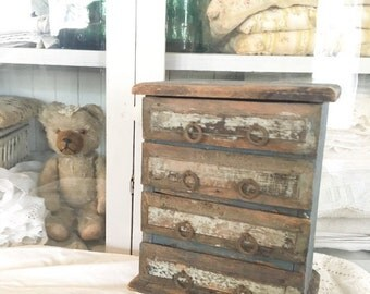 Vintage Petite Primitive Chest Of Drawers Cabinet