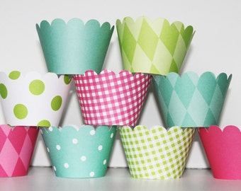 Spa, hot pink, Teal, lime green, Cupcake Wrappers, cupcake liner, wedding, bridal shower, baby shower, birthday party, girls first birthday,