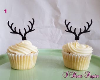 Antler Cupcake Toppers