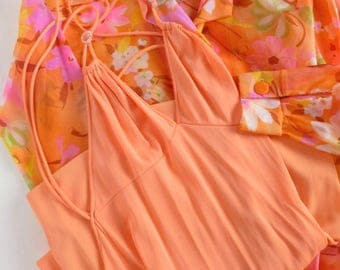 Peignoir Set Blanche by Ralph Montenero Nightgown and Robe in Orange with Semi Sheer Neon Floral XS or S
