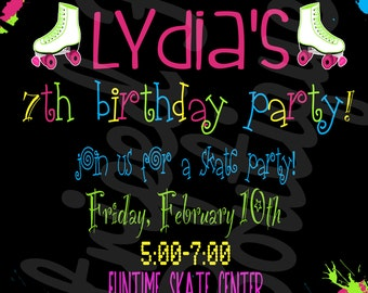 Roller Skate birthday invitation l Skating Rink party l 4x6 l 5x7 I Instant Download I Print at home