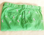 Vintage, Men's Pants, Kelly Green, Preppy, Embroidered, Martini, Ralph Lauren, Motif Pant, Embroidery, Trousers, Casual, Theme,Khakis,Cotton