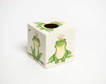 Green Frog Tissue Box Cover wooden perfect for Mothers Day