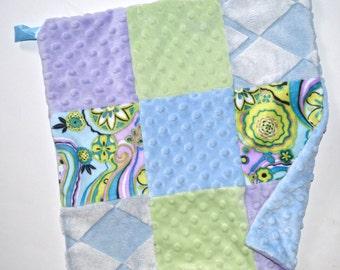 "On Sale, Sample - Minky Baby Lovey Blanket 14"" - Lavender, green and Blue, Baby Blanket Lovie, Woobie Ready to Ship Newborn"