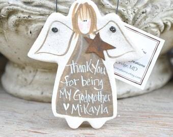 Godmother Gift Salt Dough Ornament Angel Mother's Day / Birthday / Christmas / Thank You / Baptism