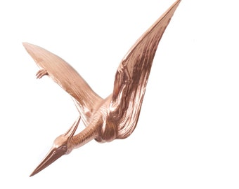 Pterodactyl Wall Mount - Metallic Rose Gold - Dinosaur Faux Taxidermy PTER11