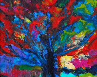 "Fine Art Giclee Print ""Fiery Oak"" From Original Tree Painting by Claire McElveen Signed"