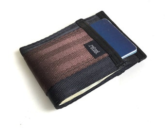 Front Pocket Wallet - Credit Card Holder with Center Slot for Cash - Black and Brown Seatbelt Webbing