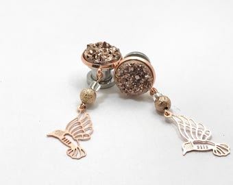 "Rose Gold 2g Dangle Plugs 0g Hummingbird Ear Plugs 6g 7/16"" 000g 00g 11mm 10mm 8mm 6mm 5mm 4mm Druzy Gauge Formal Bridal Dangle Ear Plugs"