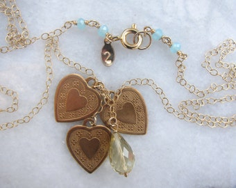 Vintage Heart Charms, Vintage Charm Necklace, Two Girls Gems